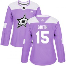 Women's Adidas Dallas Stars Bobby Smith Purple Fights Cancer Practice Jersey - Authentic