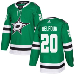 Men's Adidas Dallas Stars Ed Belfour Green Home Jersey - Authentic