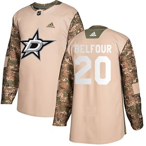 Youth Adidas Dallas Stars Ed Belfour Camo Veterans Day Practice Jersey - Authentic
